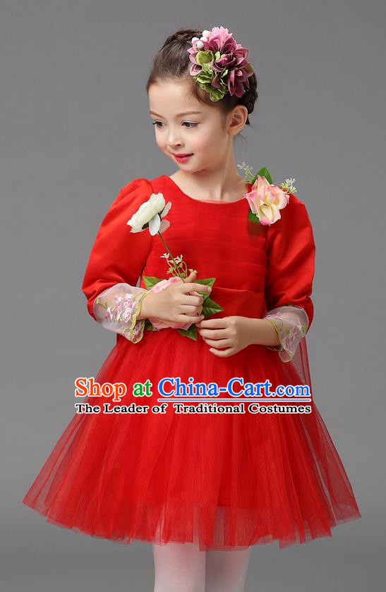 Top Grade Professional Performance Catwalks Costume, Children Chorus Compere Full Dress Modern Dance Little Princess Red Veil Bubble Dress for Girls Kids