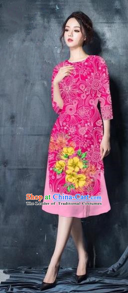 Traditional Top Grade Asian Vietnamese Costumes Classical Painting Short Pink Cheongsam, Vietnam National Vietnamese Young Lady Bride Wedding Ao Dai Dress