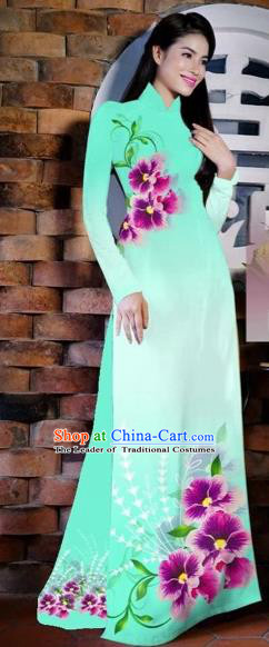 Traditional Top Grade Asian Vietnamese Costumes Classical Painting Flowers Fluorescent Green Cheongsam, Vietnam National Vietnamese Young Lady Bride Wedding Ao Dai Dress