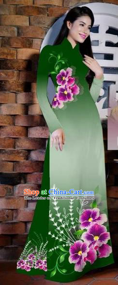 Traditional Top Grade Asian Vietnamese Costumes Classical Painting Flowers Deep Green Cheongsam, Vietnam National Vietnamese Young Lady Bride Wedding Ao Dai Dress