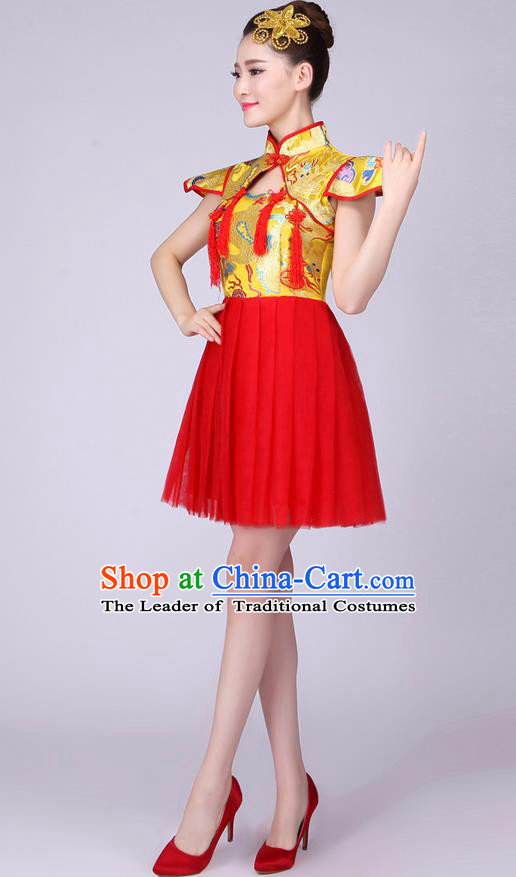 Top Grade Professional Performance Costume, China Drum Dance Chorus Fan Dance Dress Modern Dance Red Veil Bubble Dress for Women