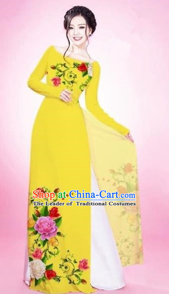 Traditional Top Grade Asian Vietnamese Costumes Classical Painting Flowers Yellow Cheongsam, Vietnam National Vietnamese Young Lady Bride Wedding Round Collar Ao Dai Dress