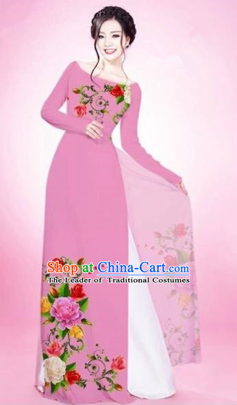 Traditional Top Grade Asian Vietnamese Costumes Classical Painting Flowers Light Pink Cheongsam, Vietnam National Vietnamese Young Lady Bride Wedding Round Collar Ao Dai Dress