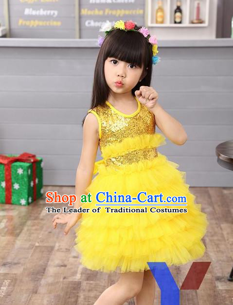Top Grade Professional Performance Catwalks Costume, Children Chorus Full Dress Modern Dance Little Princess Yellow Paillette Bubble Dress for Girls Kids