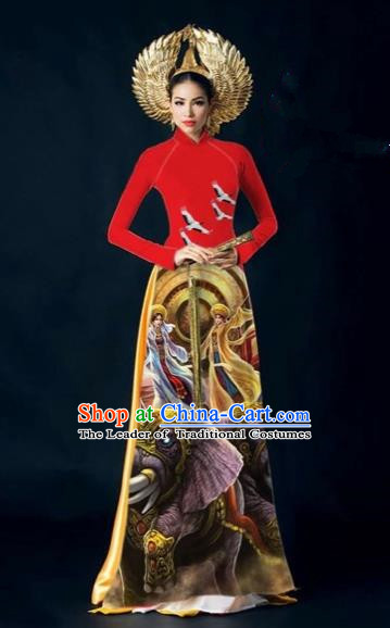 Traditional Top Grade Asian Vietnamese Costumes Classical Painting Cheongsam, Vietnam National Vietnamese Young Lady Bride Wedding Stand Collar Red Ao Dai Dress