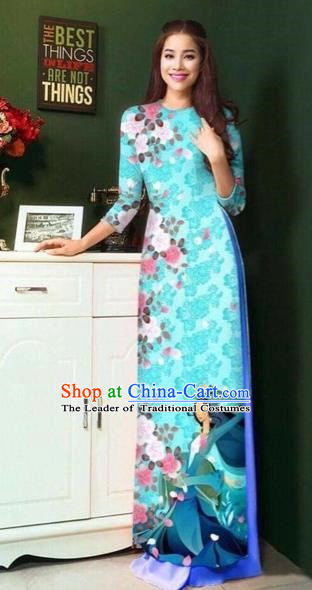 Traditional Top Grade Asian Vietnamese Costumes Classical Painting Wedding Cheongsam, Vietnam National Vietnamese Young Lady Bride Stand Collar Blue Ao Dai Dress