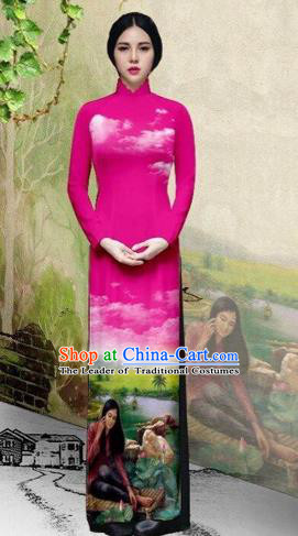 Traditional Top Grade Asian Vietnamese Costumes Classical Painting Wedding Cheongsam, Vietnam National Vietnamese Young Lady Bride Stand Collar Pink Ao Dai Dress