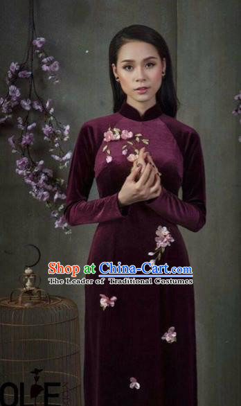 Traditional Top Grade Asian Vietnamese Costumes Classical Amaranth Embroidery Cheongsam, Vietnam National Vietnamese Young Lady Bride Stand Collar Ao Dai Dress
