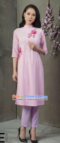 Traditional Top Grade Asian Vietnamese Costumes Classical Patch Embroidery Cheongsam, Vietnam National Vietnamese Young Lady Bride Stand Collar Pink Ao Dai Dress