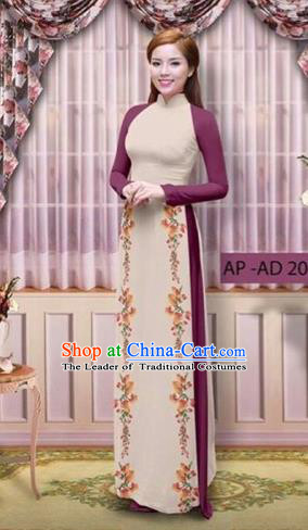 Traditional Top Grade Asian Vietnamese Costumes Classical Printing Cheongsam, Vietnam National Vietnamese Young Lady Amaranth Ao Dai Dress
