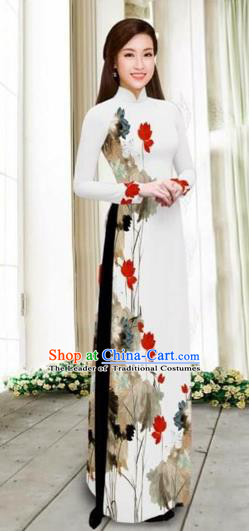 Traditional Top Grade Asian Vietnamese Costumes Classical Printing Cheongsam, Vietnam National Vietnamese Young Lady White Chiffon Ao Dai Dress