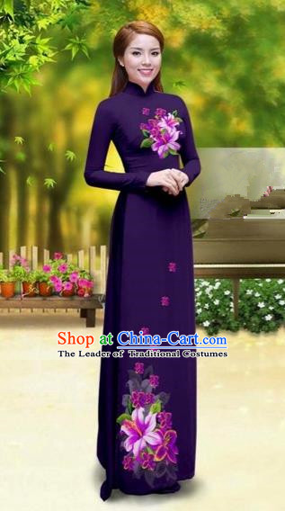 Traditional Top Grade Asian Vietnamese Costumes Classical Printing Cheongsam, Vietnam National Vietnamese Young Lady Purple Chiffon Ao Dai Dress