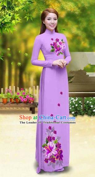 Traditional Top Grade Asian Vietnamese Costumes Classical Printing Greenish Lily Flower Cheongsam, Vietnam National Vietnamese Young Lady Light Purple Chiffon Ao Dai Dress