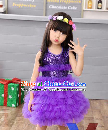 Top Grade Professional Performance Catwalks Costume, Children Chorus Full Dress Modern Dance Little Princess Purple Paillette Bubble Dress for Girls Kids