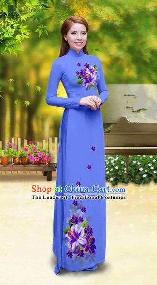 Traditional Top Grade Asian Vietnamese Costumes Classical Printing Greenish Lily Flower Cheongsam, Vietnam National Vietnamese Young Lady Blue Chiffon Ao Dai Dress