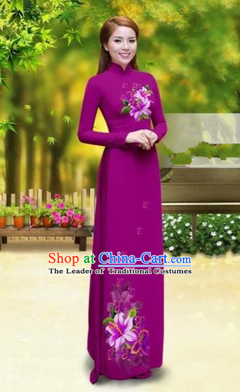 Traditional Top Grade Asian Vietnamese Costumes Classical Printing Greenish Lily Flower Cheongsam, Vietnam National Vietnamese Young Lady Amaranth Chiffon Ao Dai Dress