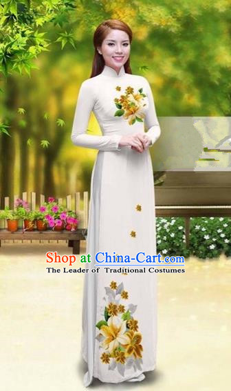 Traditional Top Grade Asian Vietnamese Costumes Classical Printing Greenish Lily Flower Cheongsam, Vietnam National Vietnamese Young Lady White Chiffon Ao Dai Dress