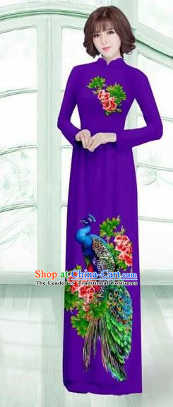 Traditional Top Grade Asian Vietnamese Costumes Classical Printing Peacock Cheongsam, Vietnam National Vietnamese Young Lady Purple Ao Dai Dress