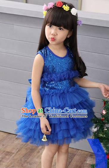 Top Grade Professional Performance Catwalks Costume, Children Chorus Full Dress Modern Dance Little Princess Blue Paillette Bubble Dress for Girls Kids