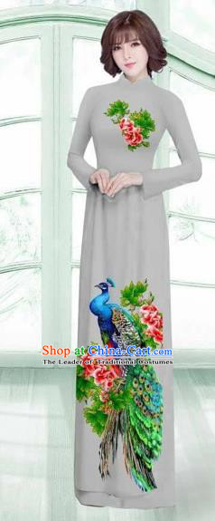Traditional Top Grade Asian Vietnamese Costumes Classical Printing Peacock Cheongsam, Vietnam National Vietnamese Young Lady Grey Ao Dai Dress