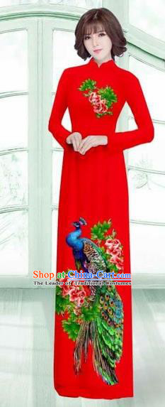 Traditional Top Grade Asian Vietnamese Costumes Classical Printing Peacock Cheongsam, Vietnam National Vietnamese Young Lady Red Ao Dai Dress