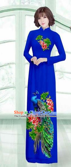 Traditional Top Grade Asian Vietnamese Costumes Classical Printing Peacock Cheongsam, Vietnam National Vietnamese Young Lady Royalblue Ao Dai Dress