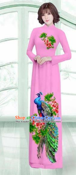 Traditional Top Grade Asian Vietnamese Costumes Classical Printing Peacock Cheongsam, Vietnam National Vietnamese Young Lady Pink Ao Dai Dress