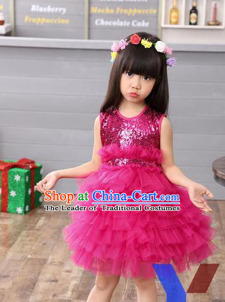 Top Grade Professional Performance Catwalks Costume, Children Chorus Full Dress Modern Dance Little Princess Rose Paillette Bubble Dress for Girls Kids