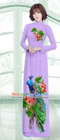 Traditional Top Grade Asian Vietnamese Costumes Classical Printing Peacock Cheongsam, Vietnam National Vietnamese Young Lady Lilac Ao Dai Dress