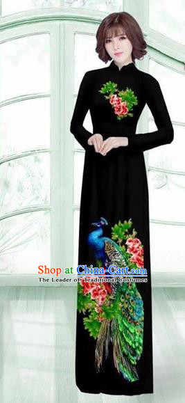 Traditional Top Grade Asian Vietnamese Costumes Classical Printing Peacock Cheongsam, Vietnam National Vietnamese Young Lady Black Ao Dai Dress