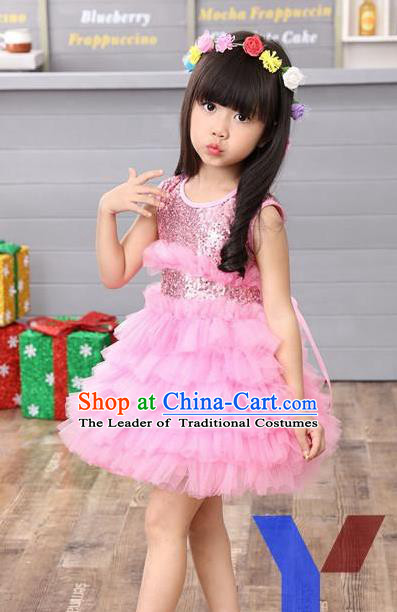 Top Grade Professional Performance Catwalks Costume, Children Chorus Full Dress Modern Dance Little Princess Pink Paillette Bubble Dress for Girls Kids