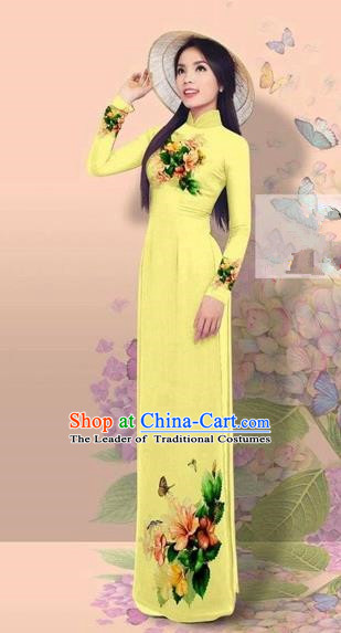 Traditional Top Grade Asian Vietnamese Costumes Classical 3D Printing Cheongsam, Vietnam National Vietnamese Young Lady Miss Etiquette Yellow Ao Dai Dress
