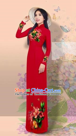 Traditional Top Grade Asian Vietnamese Costumes Classical 3D Printing Cheongsam, Vietnam National Vietnamese Young Lady Miss Etiquette Purplish Red Ao Dai Dress