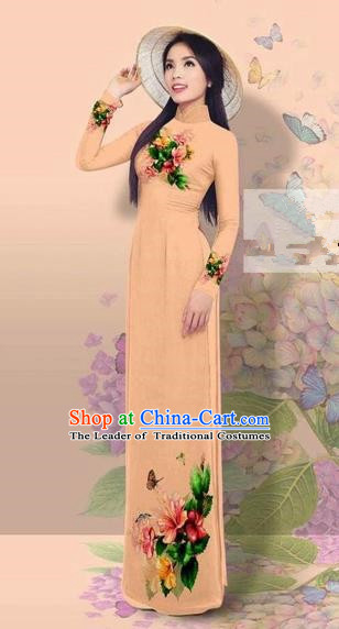 Traditional Top Grade Asian Vietnamese Costumes Classical 3D Printing Cheongsam, Vietnam National Vietnamese Young Lady Miss Etiquette Khaki Ao Dai Dress