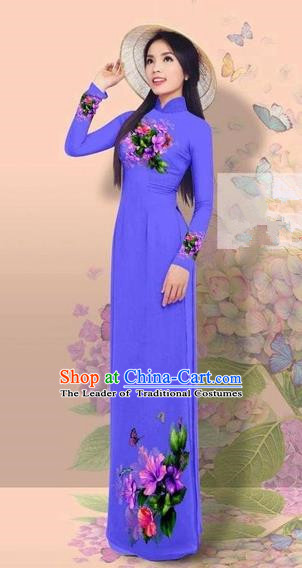 Traditional Top Grade Asian Vietnamese Costumes Classical 3D Printing Cheongsam, Vietnam National Vietnamese Young Lady Miss Etiquette Blue Ao Dai Dress
