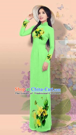 Traditional Top Grade Asian Vietnamese Costumes Classical 3D Printing Cheongsam, Vietnam National Vietnamese Young Lady Miss Etiquette Fluorescent Green Ao Dai Dress
