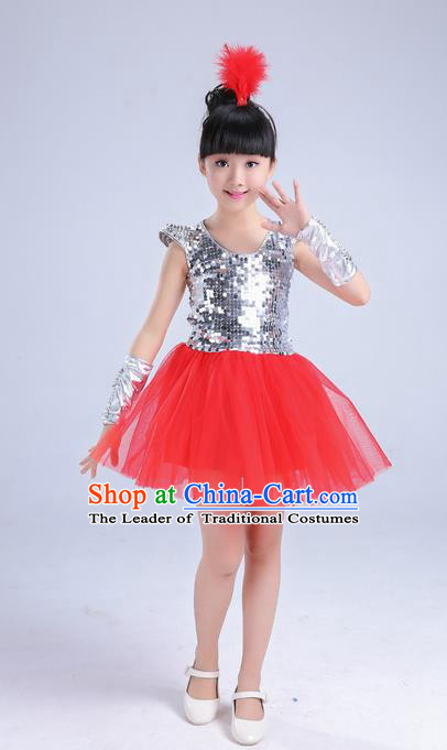 Top Grade Professional Performance Catwalks Costume, Children Chorus Compere Modern Dance Uniform Red Paillette Bubble Dress for Girls