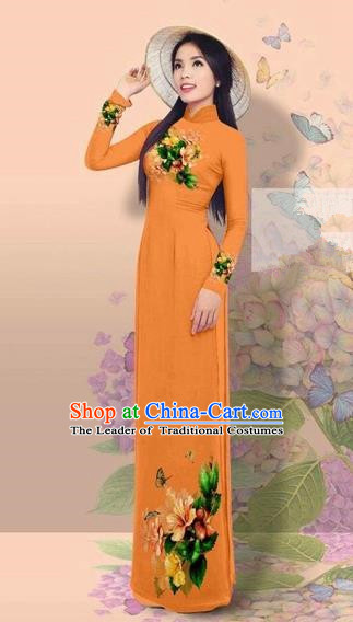 Traditional Top Grade Asian Vietnamese Costumes Classical 3D Printing Cheongsam, Vietnam National Vietnamese Young Lady Miss Etiquette Orange Ao Dai Dress