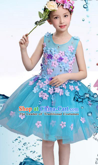 Top Grade Professional Compere Modern Dance Costume, Children Opening Dance Chorus Uniforms Flower Faerie Princess Blue Bubble Dress for Girls