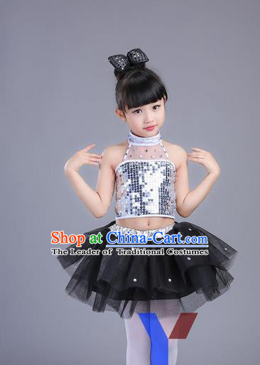 Top Grade Professional Compere Modern Dance Costume, Children Opening Dance Chorus Uniforms Jazz Dance Black Bubble Dress for Girls