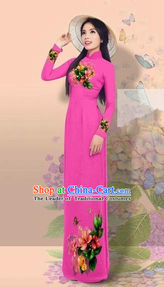 Traditional Top Grade Asian Vietnamese Costumes Classical 3D Printing Cheongsam, Vietnam National Vietnamese Young Lady Miss Etiquette Rosy Ao Dai Dress