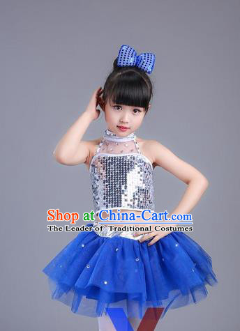 Top Grade Professional Compere Modern Dance Costume, Children Opening Dance Chorus Uniforms Jazz Dance Blue Bubble Dress for Girls