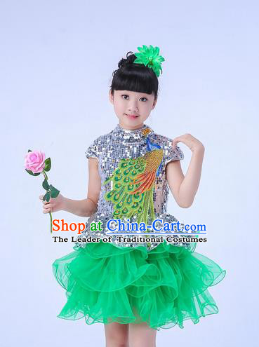 Top Grade Professional Compere Modern Dance Costume, Children Opening Dance Chorus Uniforms Peacock Green Paillette Bubble Dress for Girls