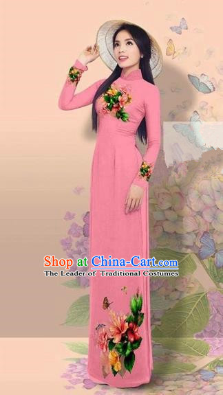 Traditional Top Grade Asian Vietnamese Costumes Classical 3D Printing Cheongsam, Vietnam National Vietnamese Young Lady Miss Etiquette Pink Ao Dai Dress