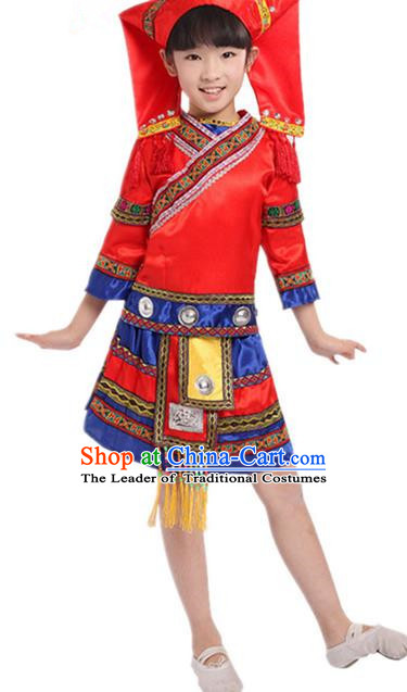 Traditional Chinese Zhuang Nationality Dancing Costume, Zhuang Zu Children Folk Dance Ethnic Pleated Skirt, Chinese Minority Nationality Embroidery Red Dress for Kids