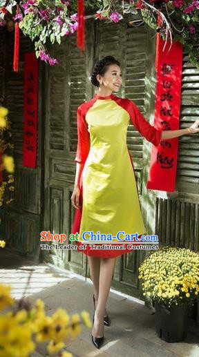 Traditional Top Grade Asian Vietnamese Costumes Classical Wedding Bride Cheongsam, Vietnam National Vietnamese Young Lady Ao Dai Dress