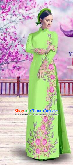 Traditional Top Grade Asian Vietnamese Costumes Classical Bride Printing Cheongsam, Vietnam National Vietnamese Princess Green Ao Dai Dress