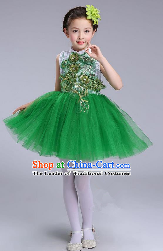 Top Grade Professional Compere Modern Dance Costume, Children Opening Dance Chorus Uniforms Green Bubble Dress for Girls