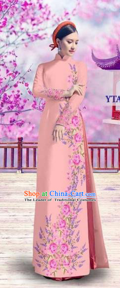 Traditional Top Grade Asian Vietnamese Costumes Classical Bride Printing Cheongsam, Vietnam National Vietnamese Princess Pink Ao Dai Dress