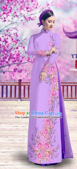 Traditional Top Grade Asian Vietnamese Costumes Classical Bride Printing Cheongsam, Vietnam National Vietnamese Princess Purple Ao Dai Dress